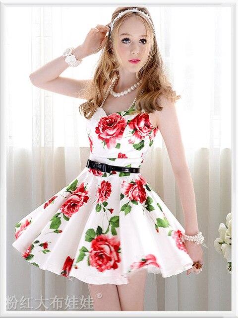 watch 3aec9 1234e Vestito bianco fiori rossi – Vestiti da cerimonia