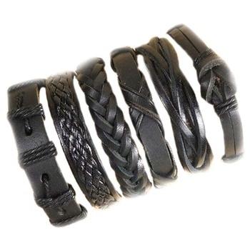 6pcs Leather Bracelets For Men Wrap Bangle Party Gifts 3