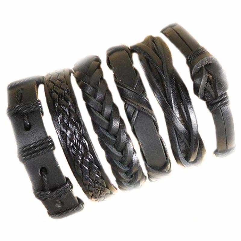 ขายส่ง 10 ชิ้น/ล็อต (สุ่ม 10 pcs) MIX Styles Braided กำไลหรือ 6pcs สร้อยข้อมือหนังสำหรับชายกำไลข้อมือของขวัญ MX5