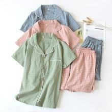 Das Mulheres novas do Verão Água washed Cotton Curto de mangas compridas Pijama Xadrez Impressão Pijama Mujer Mulheres Loungewear Sleepwear Sono Pj conjunto