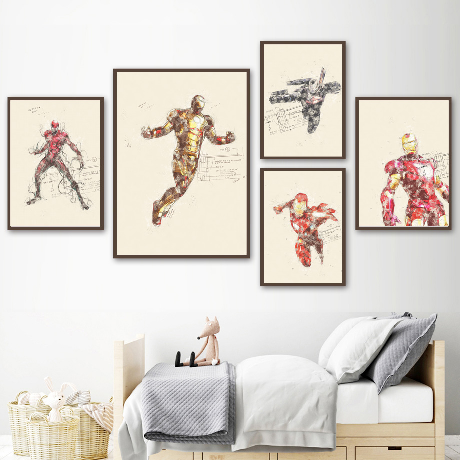 Home & Garden Superhero Wolverine Spider Man Superman Nordic Posters And Prints Wall Art Canvas Painting Wall Pictures For Kids Room Decor Highly Polished