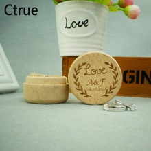 Personalized Sweet Love Engagement Rustic Wedding Wood Ring Box Holder Custom Your Names and Date Bearer