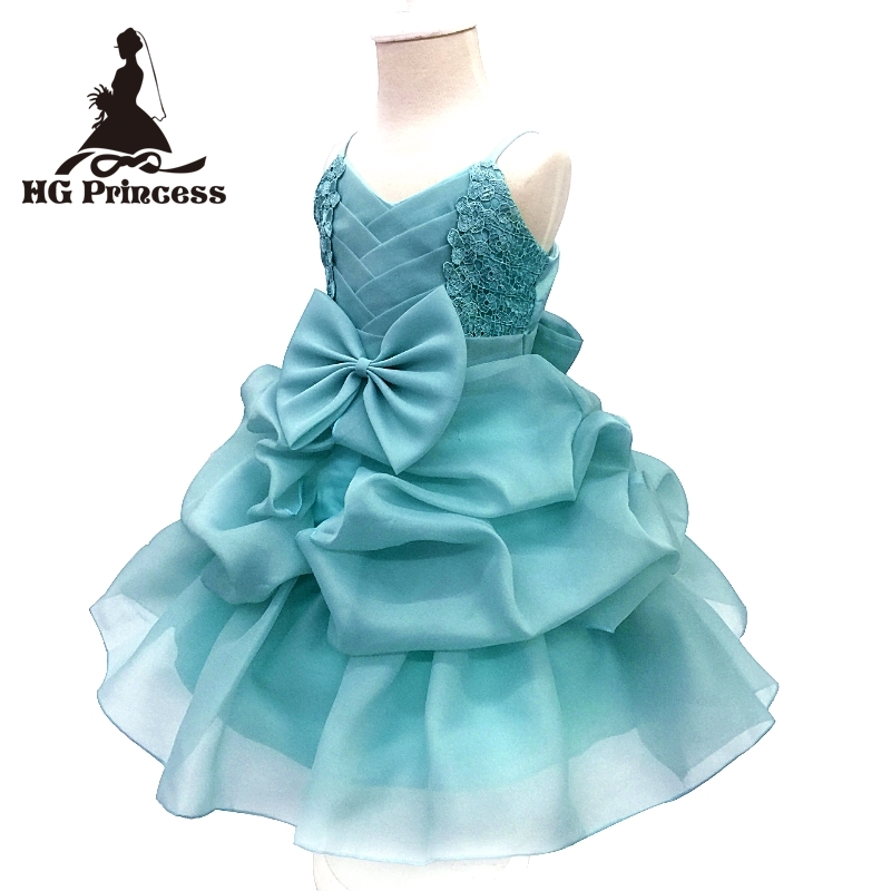 2018 New Arrival 4-8 Years Children Party Dress Cotton Lining Kids Pageant Ball Gowns Turquoise Flower Girl Dresses For Weddings