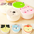 1 Set Kawaii Candy Color Cartoon Patterns Lunch Box Microwave Oven Bento Container Case Dinnerware Children\'s Birthday Gift