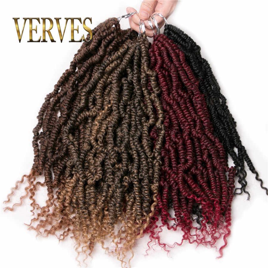 Extensiones de trenzas de ganchillo de pelo torcido de primavera VERVES 12 pulgadas, 24 hebras/paquete afro kinky sintético ombre trenzado de pelo