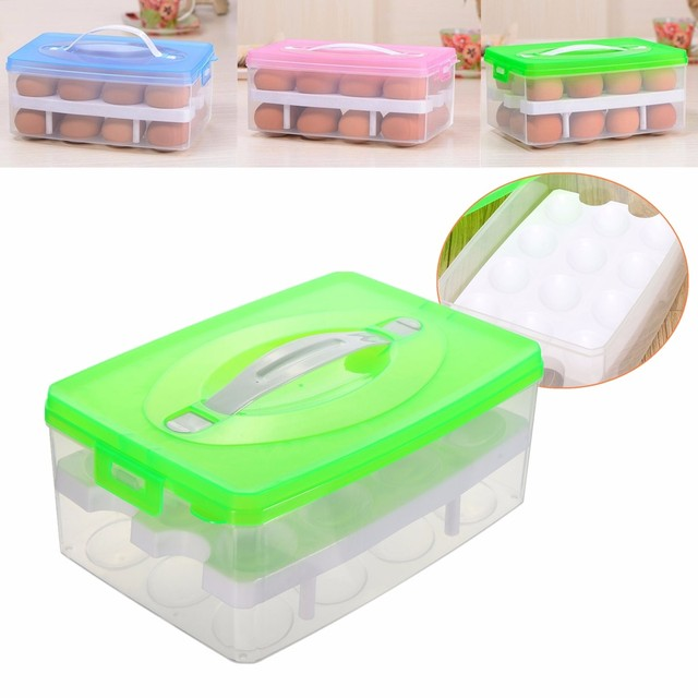 Airtight Storage Container Double Layer Refrigerator Food Plastic Box  Plastic Fridges Ice Box Organizing Box 24