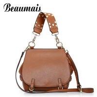 Beaumais European American Style Genuine Leather Shoulder Bag Women Fashion Women Leather Handbags Women Messenger Bag