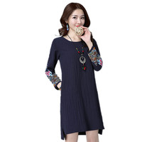 Fashion New Spring Autumn Women Embroidery Linen Dress Chinese Style Qaulity Brand Ladies Vintage Loose National