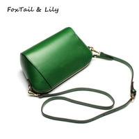 FoxTail Lily Woman Shoulder Messenger Bags Luxury Designer Small Crossbody Bag Genuine Leather Ladies Handbags Simple
