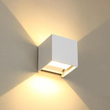 Free shipping 7W COB LED wall lamp PIR IP65 White Black Modern style Aluminum outdoor sensor lighting for garden and corridors