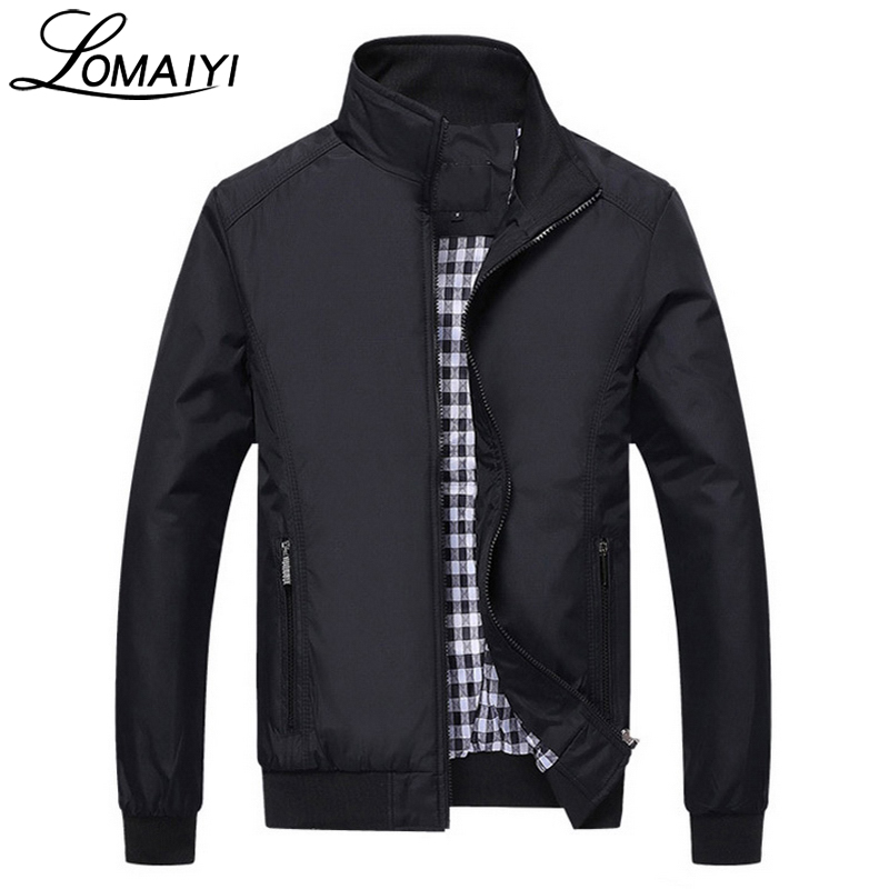 LOMAIYI Plus Size Autumn Casual Men's Jacket Men 2017 Spring Business Coat Mens Slim Windbreaker Male Black Bomber Jackets,BM042