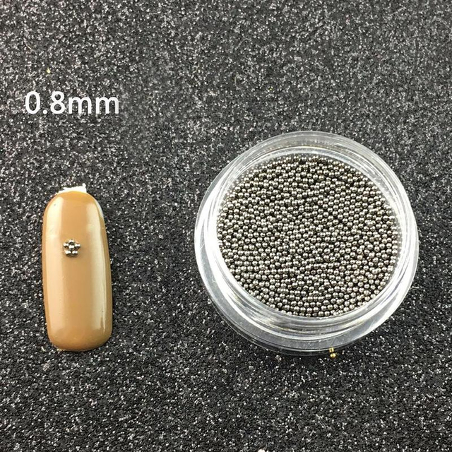 0.8mm Metal Micro Beads Stainless Steel Nails Art Caviar Micro Beads For 3D Nail Gold Silver Nail Beads Micro Decorations 4