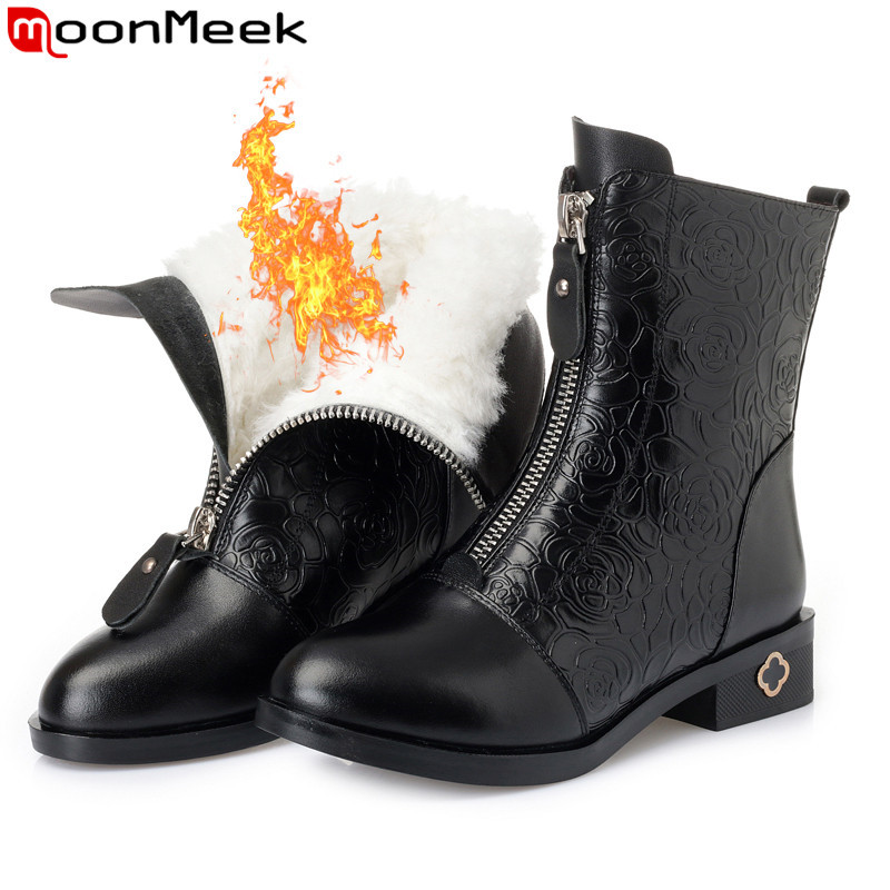MoonMeek fashion winter ankle boots women round toe zip genuine leather boots square heel keep warm wool snow boots women цены онлайн