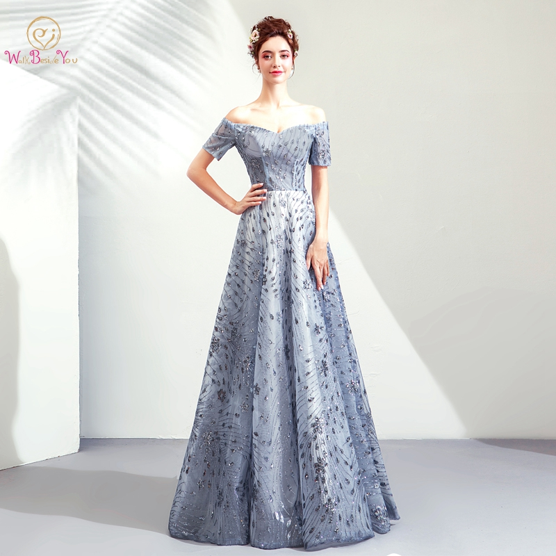 Walk Beside You Dark Blue Evening Dresses Bling Sequined Sweetheart Off  Shoulder A line Long Floor Length Lace up Back Prom Gown-in Evening Dresses  from ... 1df396c435da