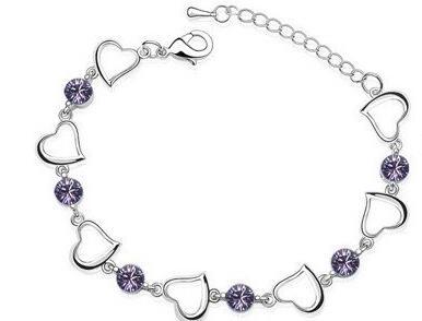 Браслеты с одним сердцем, высокое качество, циркониевые амулеты, популярные модные ювелирные изделия, Прямая поставка, подарок на день рождения, вечерние, австрийские кристаллы - Окраска металла: purple