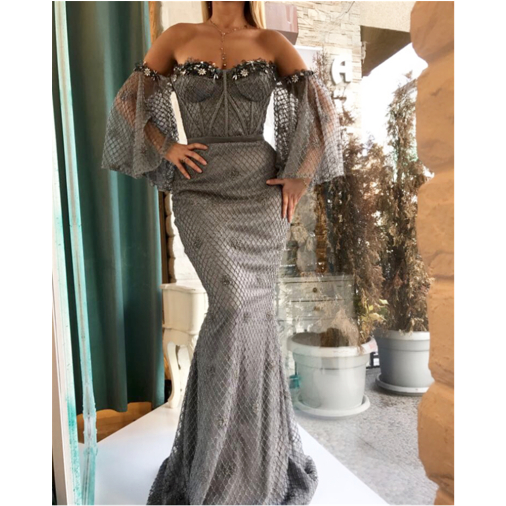 Amazing 2019 Grey Tulle Mermaid Arabic   Evening     Dress   Boat Neck Cap Sleeve Corset Long Prom Gowns Custom Made Party   Dresses   Cheap