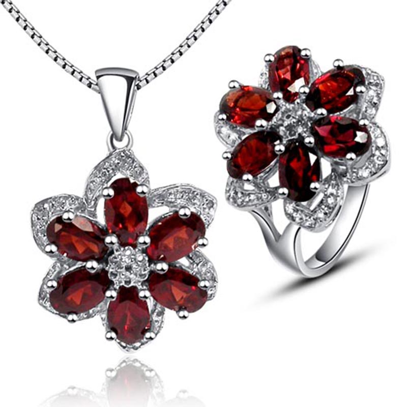 Luxurious red garnet jewelry sets 100 natural red garnet 925 solid sterling silver ring necklace pendant