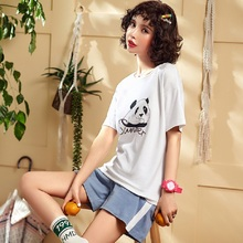 2019 Summer Women Pajamas Sets With Cartoon Print Fashion Female Two Pieces Shirts + Pants Nighties Sleepwear Girls Home-wear