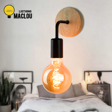 LED Wood Wall Light Retro Sconce Lamp Lighting Bathroom Modern Vintage Industrial Bedside E27 85-260V Home Decor