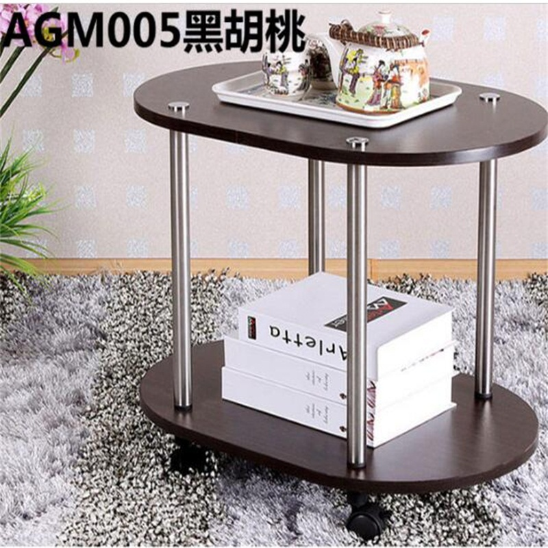60*40*47CM Modern Wood Bedside Table Sofa Side Coffee Table Mobile Oval Tea Cart With Wheels