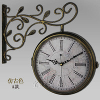 Ultra quiet European clock, American double sided wall clock, living room modern metal wall clock double sided