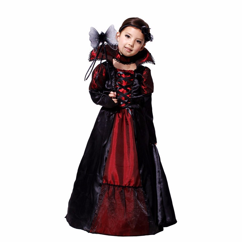 ФОТО Children's Christmas dress Girls Costumes Vampire Queen Children Costume Halloween Kids Black Lace Party Dress Necklace Set Kids