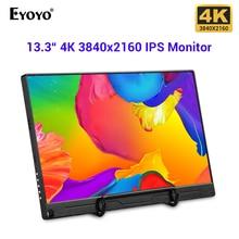 "Eyoyo 13.3 ""fhd 3840x2160 4 k ips gaming monitor compatível para consolas de jogos ps3 ps4 wiiu interruptor framboesa mini computador"