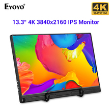 "Eyoyo Monitor para videojuegos 4K IPS, 13,3 ""FHD 3840x2160, compatible con consolas PS3 PS4 WiiU Switch Raspberry Mini PC"