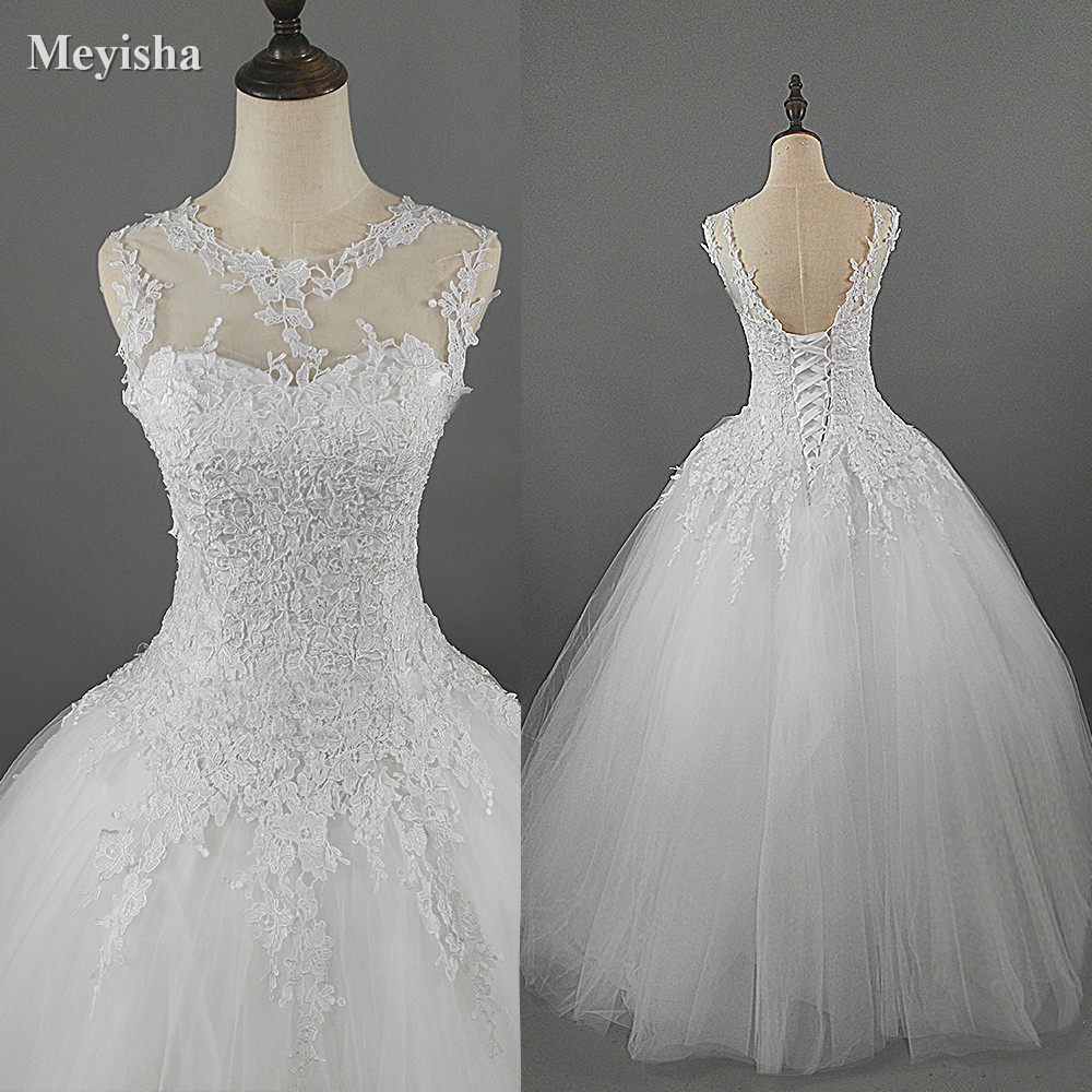 ZJ9036 lace White Ivory Gown Dresses For Wedding 2019 bride plus size maxi Customer made size 4 6 8 10 12 14 16 18 20 22 24 26