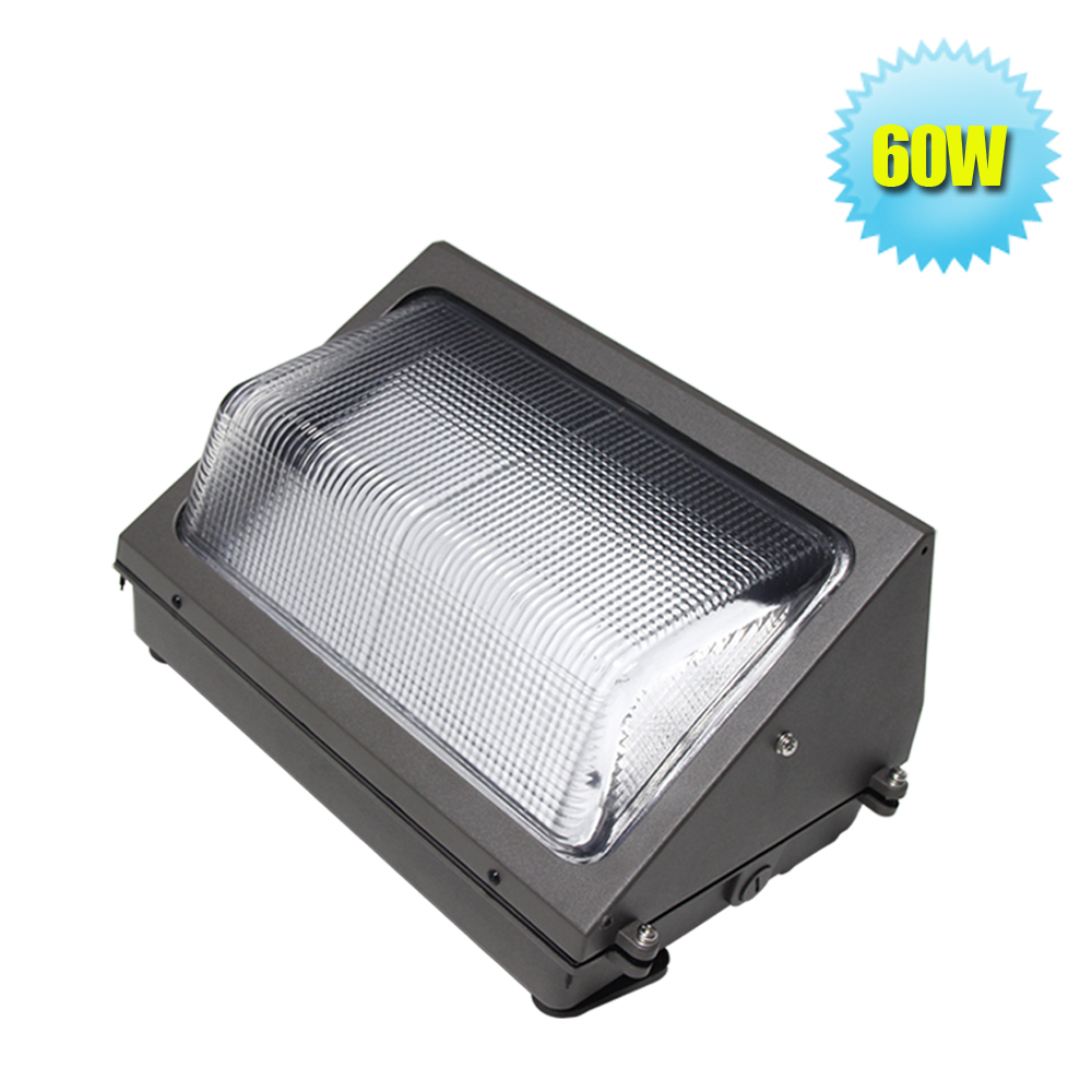 60W LED Wall Pack Fixture Light 125W HPS/HID Replacement 6500K Cool White  5700Lm Waterproof