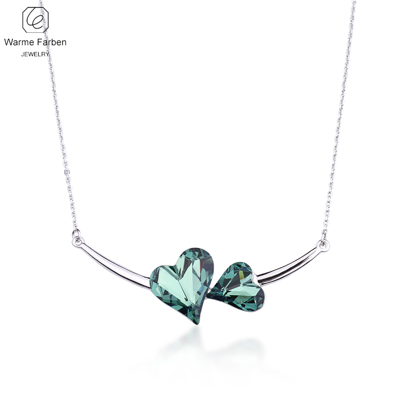 WARME FARBEN Fine Jewelry Women Necklace Crystal from Swarovski Double Heart Pendant Necklace Gift for Female Collares