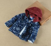 2016 Autumn Winter children's boys Add wool Geometry printing denim jacket thickening hooded coat wholesale