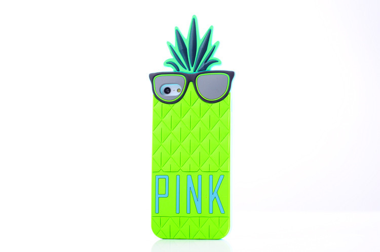 Hot Fashion Victoria/s Secret Pink 3D soft Silicone Fruit pineapple case for iphone 4 4s 5 5s 5g 10 candy colors cover in stock