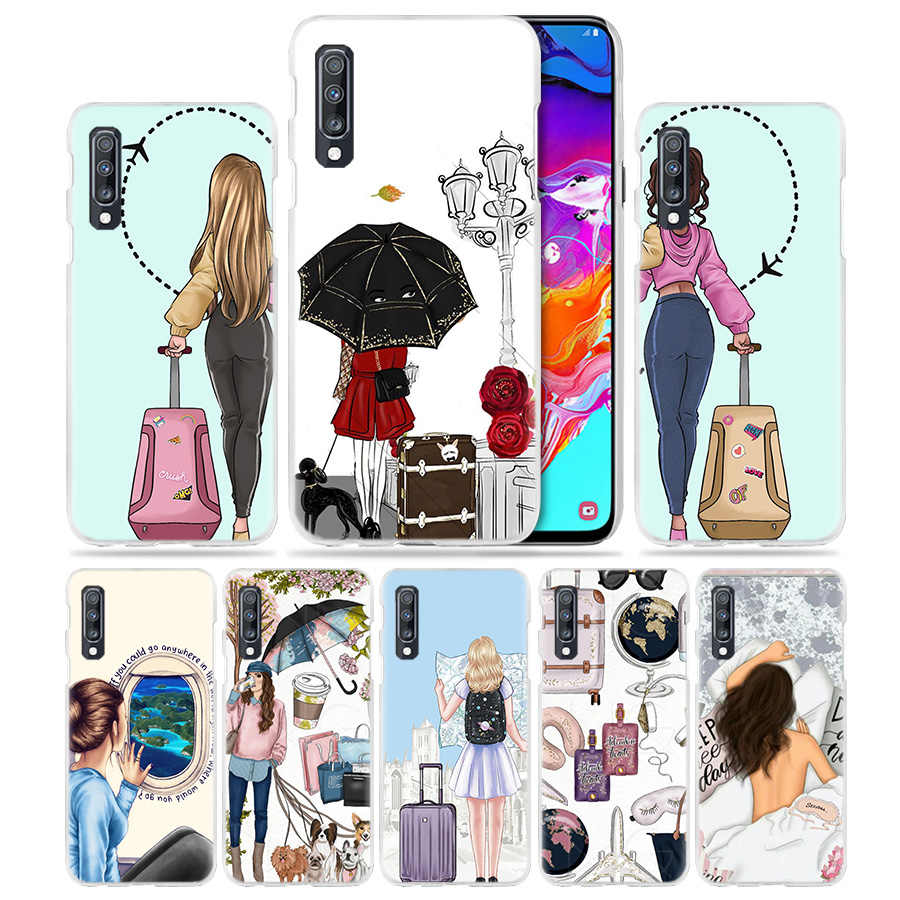Vogue Girl Travel Case for Samsung Galaxy A50 A70 A20e A60 A40 A30 A20 A10 A8 A6 Plus A9 A7 2018 Hard PC Funda Phone Coque Cover