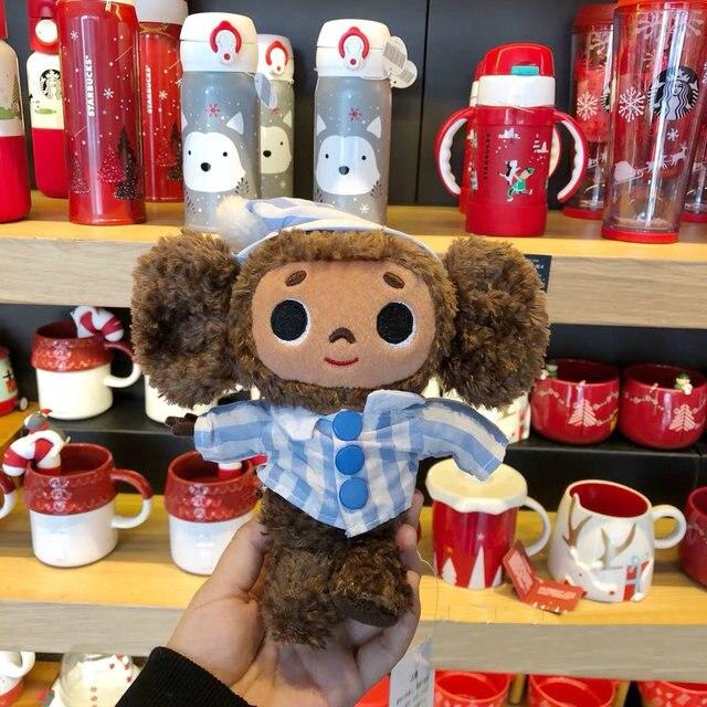 Russie grandes oreilles singe avec chapeau en peluche cheburashka poupée douce russie Anime jouet bébé enfants sommeil apaiser poupée
