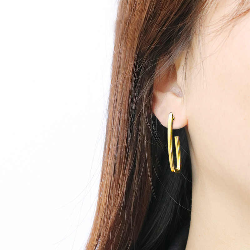 ES415 New European Fashion Earrings Simple Wind Design Creative Personality Hip Hop Earrings For Women Jewelry Party Accessories