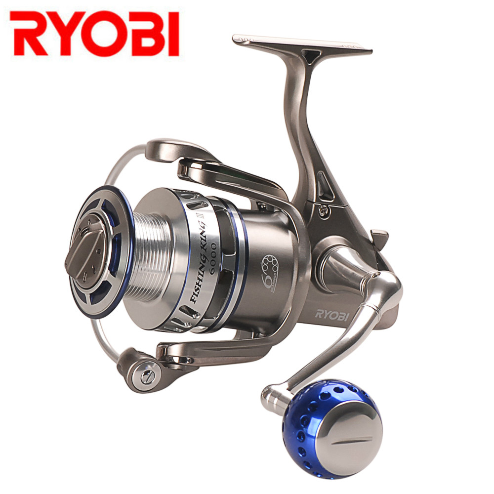 цена на RYOBI FISHING KING III 6000 8000 Spinning Fishing Reel 5.0:1 6+1 BBs Spinning Reels Saltwater Carretilha De Pesca Molinete Peche