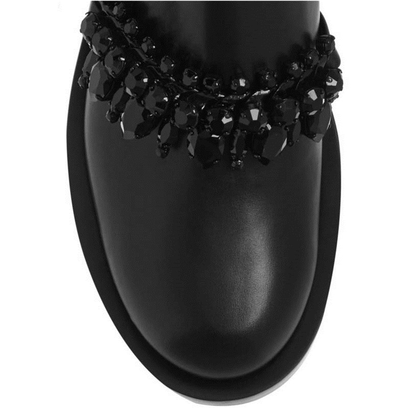 Véritable Cheville 2018 Mujer Noir Zapatos Mode Rond Femme Black Chaîne Bout Plat Cuir En Femmes Martin Bottes Strass tBvwnBarq