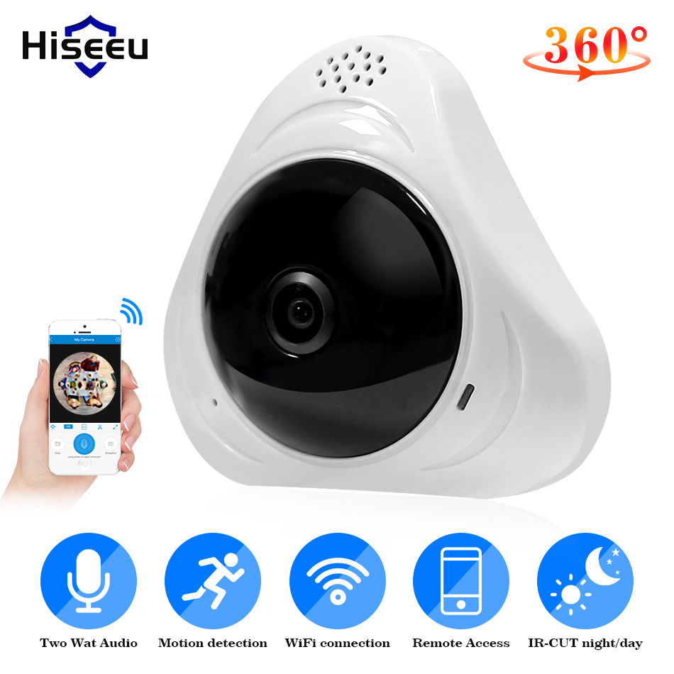 цена на Hiseeu 960P 3MP 3D VR wifi FishEye IP camera 360 degree Full View Mini CCTV Camera 1.3MP Network Home Security Camera Panoramic