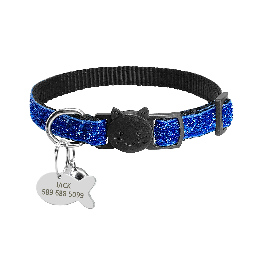 Personalized Tag Quick Release Cat Kitten Collar blue