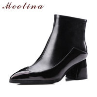 New Designer Shoes Women Ankle Boots Chunky High Heels Martin Boots Pointed Toe Ladies Boots Shoes
