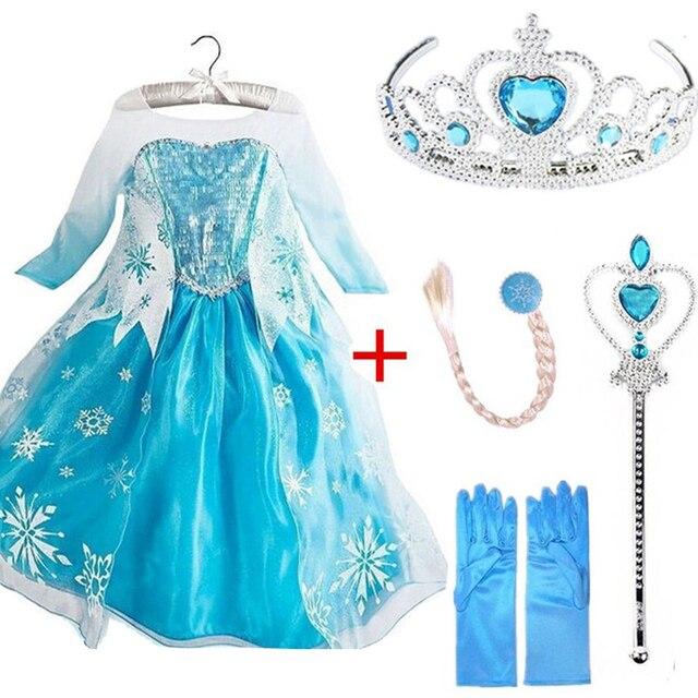 Королева Эльза платья Эльза костюмы Elza Принцесса Анна платье для вечерние Вечеринка Vestidos Fantasia детская одежда девочки Эльза комплект