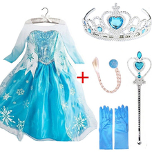 Queen Elsa Dresses Elsa Elza Costumes Princess Anna Dress for Girls Party Vestidos Fantasia Kids Girls Clothing Elsa Set cheap Zebra Remember Cotton Polyester Ankle-Length Cute Lace A-Line Full Cartoon Regular O-neck Fits true to size take your normal size