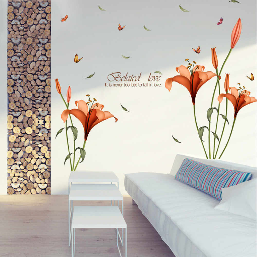 New fashion tulips flowers wall stickers diy art decoration creative fashion hall wallpaper wall stickers kids