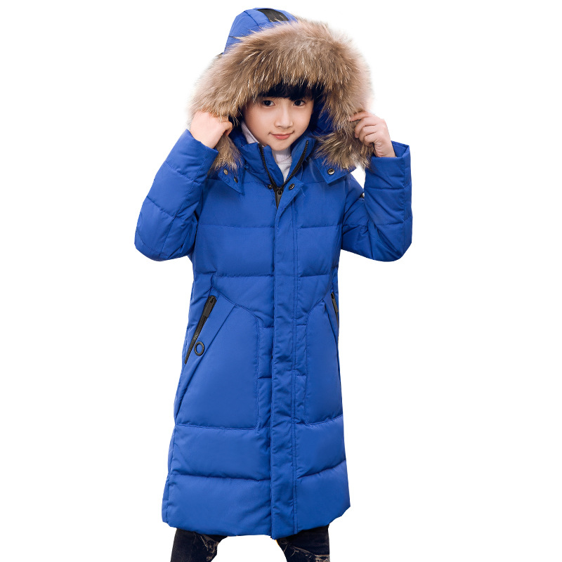 Boy winter jacket Parker coat duck down jacket children thick warm winter jacket with fur coat teenage boy clothing 8-16 years boy winter long warm down jacket boy simple fashion warm down jacket boy big fur collar thick coat boy solid color coat