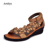 2015 Genuine Leather Female Sandals Vintage Handmade Women S Shoes Flower Open Toe Comfortable Wedges Sandals