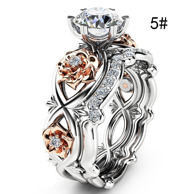 2pcs Set Crystal Wedding Rings Rhinestone Rings for Women Infinity Love Rose Flower Ring Full Size anillos mujer Silver Color 4