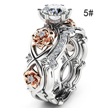 Crazy Feng 2pcs Austrian CZ Crystal Wedding Rings AccessoryInifite Love Delicate Rose Flower Ring Full Size Lady Jewelry Anillos
