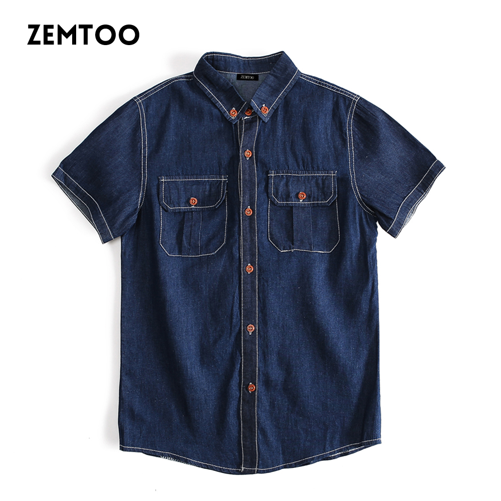 zemtoo Brand Fashion Men's Denim Shirts Casual Slim Fit Business Camisa Jeans Masculine Summer Casual Slim Fit Male Shirts F33