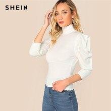 3e0b306af23cd SHEIN White High Neck Gigot Sleeve Rib-knit Slim Fit Plain Tee Solid T Shirt  Women Summer High Neck High Street Tshirt Tops